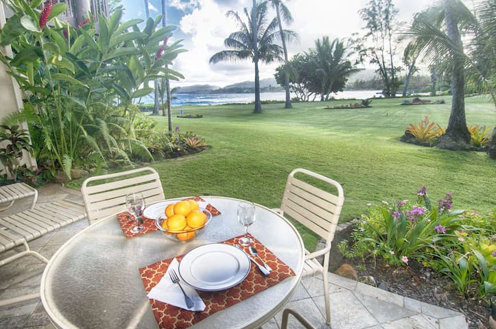 30% OFF July & August  2020. Beautiful ground floor condo, Kauai East Coast, walk across lawn to beach