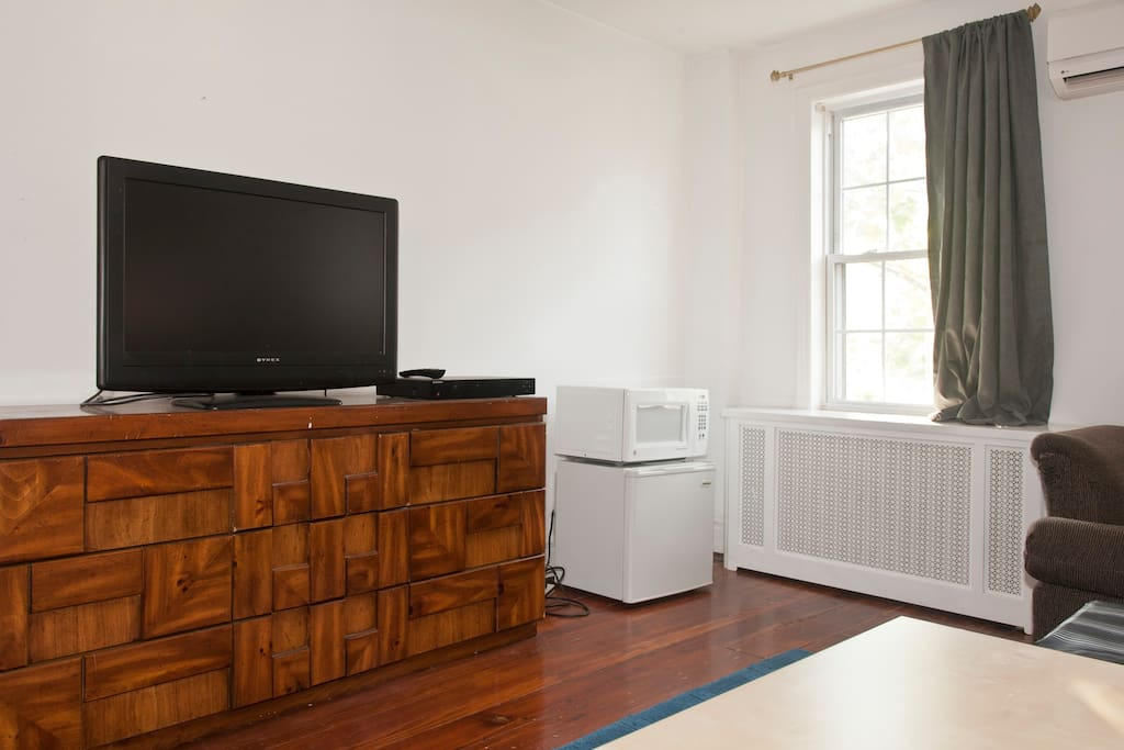 A flat screen tv with a blueray player to watch movies (no cable), a small fridge and a microwave.