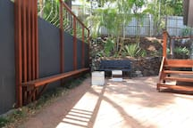 There are various decks and chill out zones including this funky courtyard