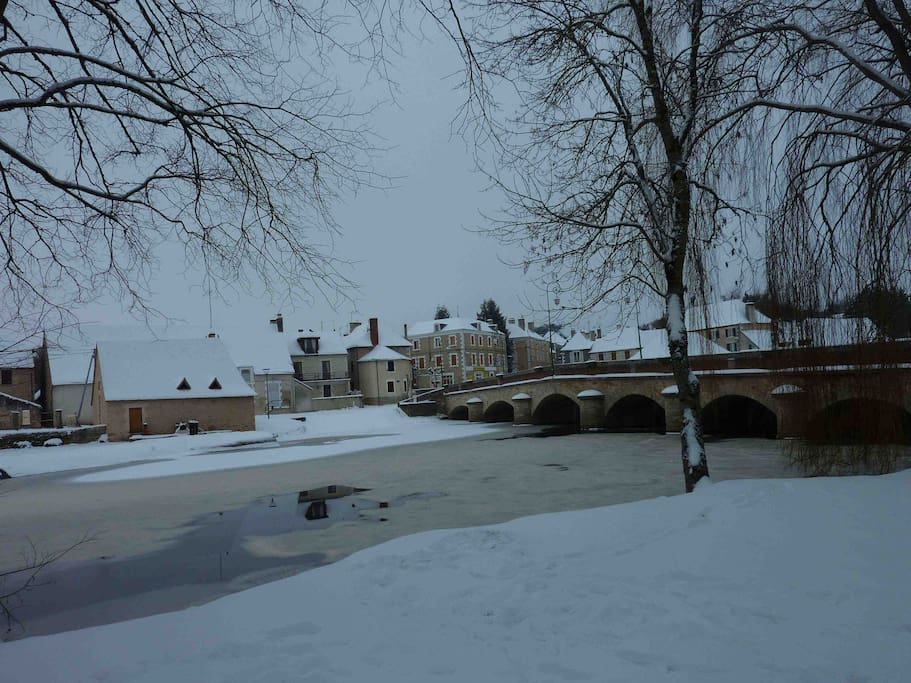 Our beautiful village in winter - the River Benaize, the bridge into the village with the Hotel du Nord (our local bar and restaurant) at the other side)