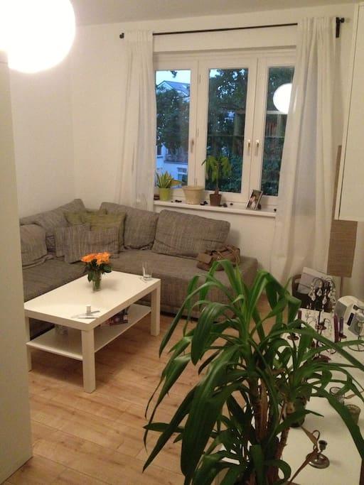 Wohnzimmer mit großer & ausklappbarer Eckcouch