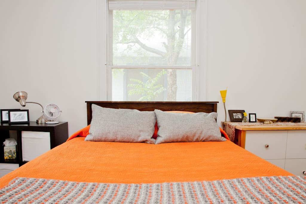 Comfy Queen size bed.  7 drawers available for unpacking your things.