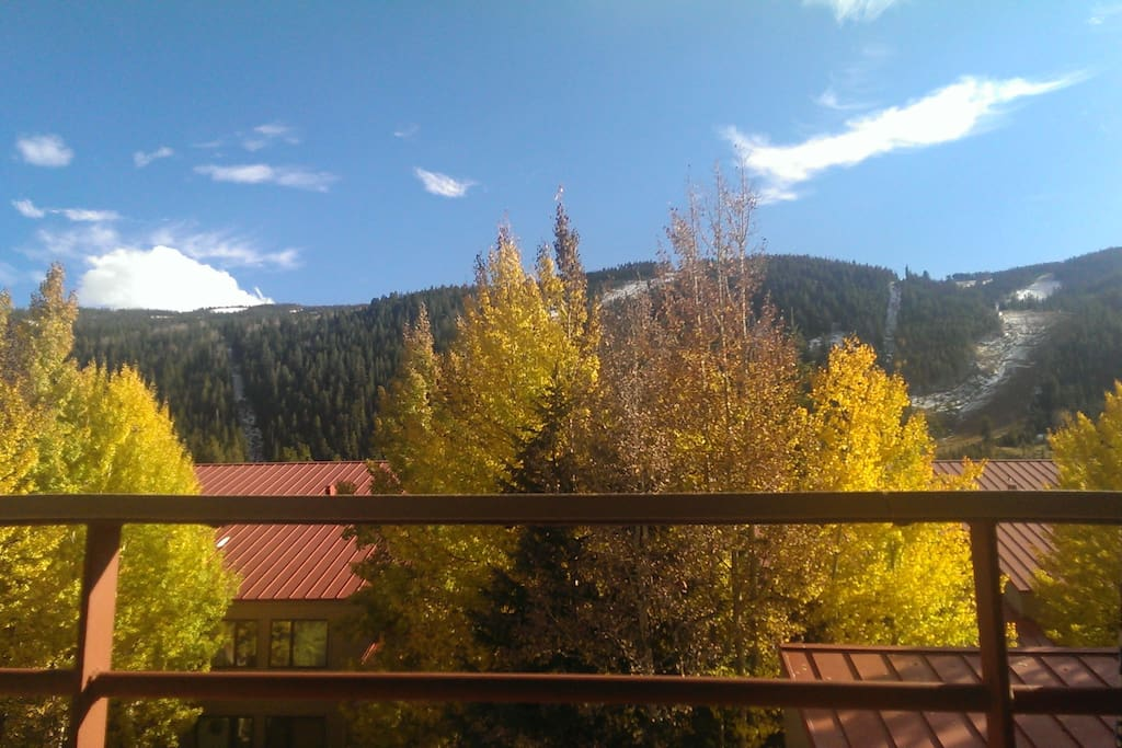 Pretty views straight off the patio - you don't need to hang off the railing at a 45 degree angle to see the mountain