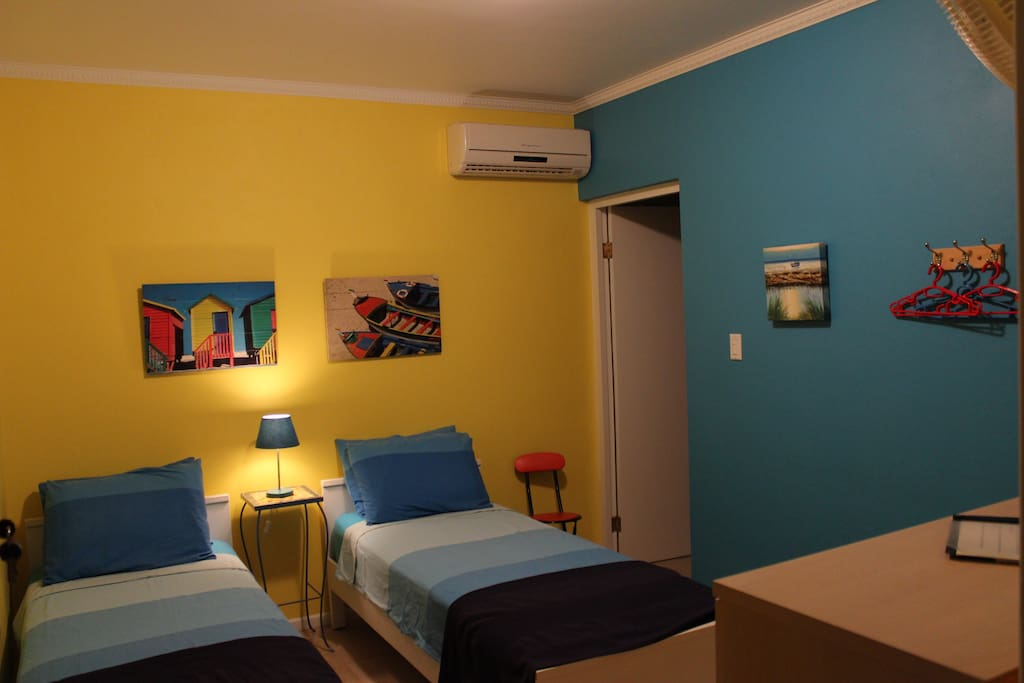 The Studio apartment has two single beds, they can be put together to make a Queen size bed