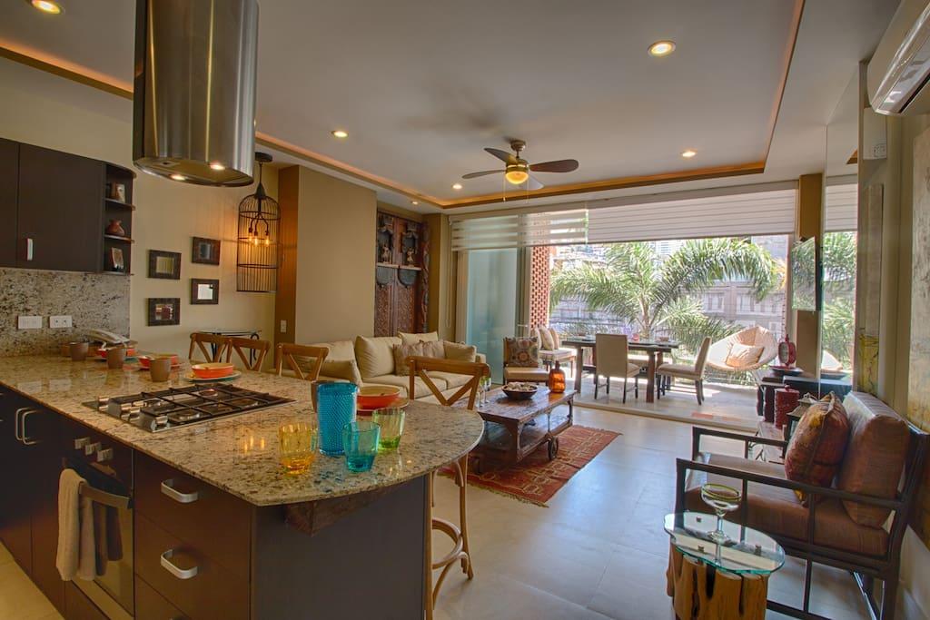 Kitchen-Living Room-Balcony