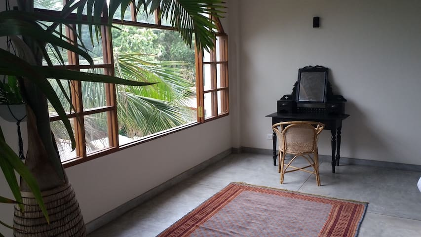 jungle vista from bedroom 2 with antique desk