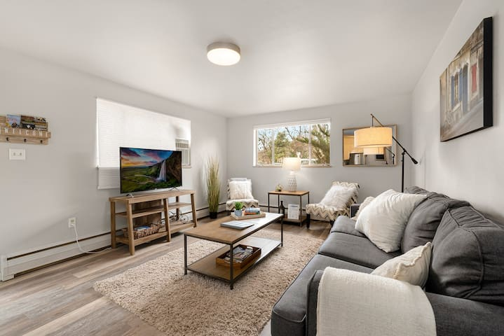 "Hip and Trendy Condo in the heart of Old Town Fort Collins. Comfortable living room with sofa bed, 50"" flat-screen TV w/Comcast cable package! Right across from Library Park! This unit is on the ground level."