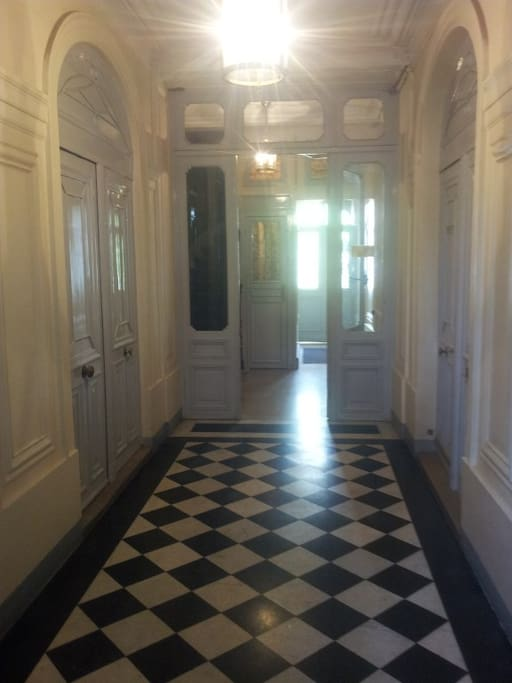 Typical 1870's building marble entrance leads to your door
