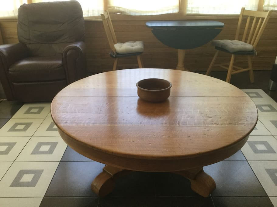 Drop-leaf table, antique coffee table, recliner