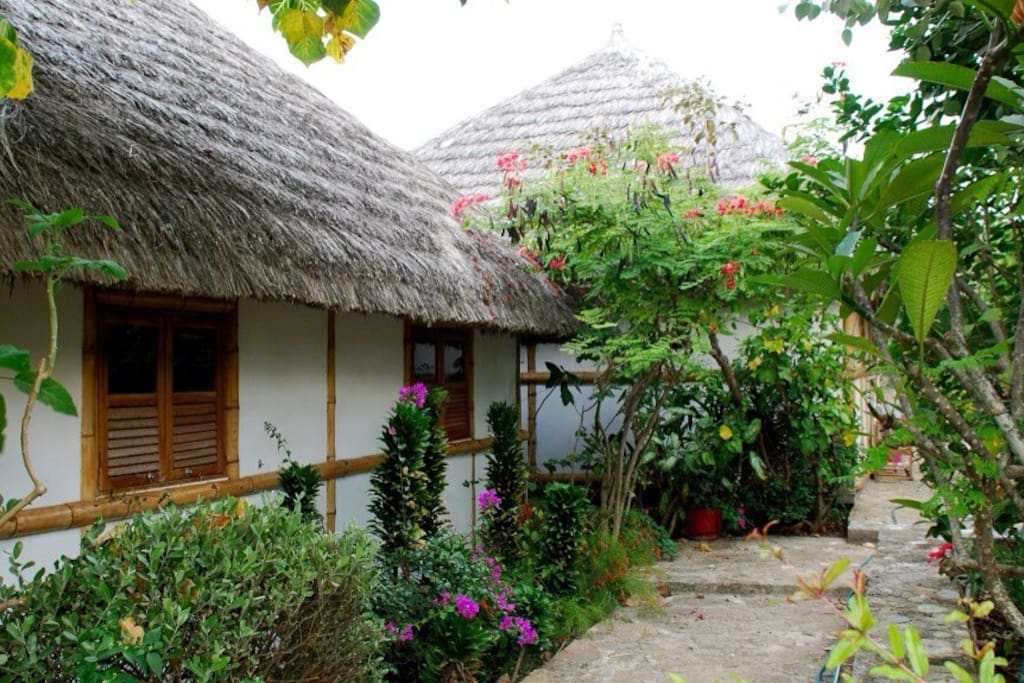 Our cabin is surrounded by lush gardens