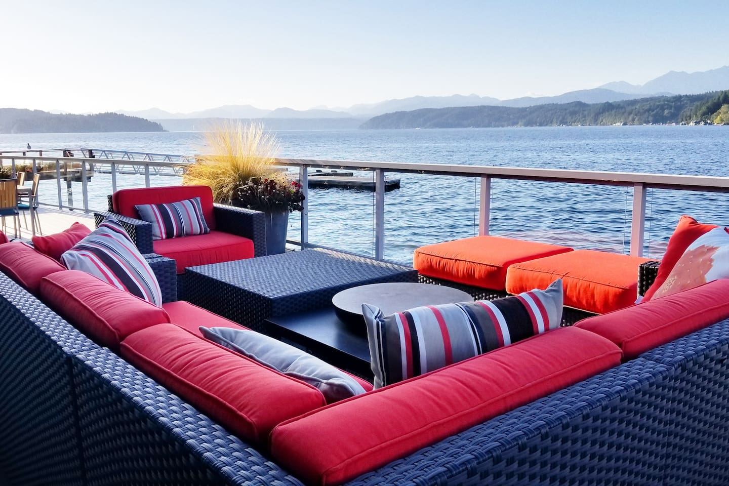 Walls of Glass Hood Canal Vacation Rental: Outdoor sofa - the ultimate hangout spot