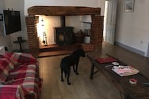 Fabulous inglenook fireplace with Log burner (dog not included!) small sofa has been replaced.