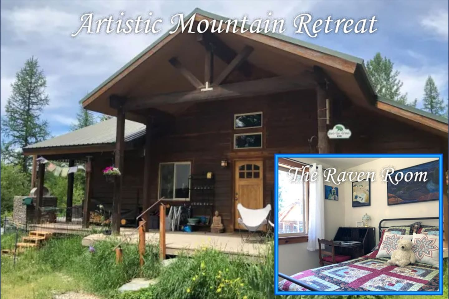 Welcome to the Raven Room, a private bedroom in the main house of the Artistic Mountain Retreat. A place for you to call home while you enjoy all of the amenities of our house and grounds.