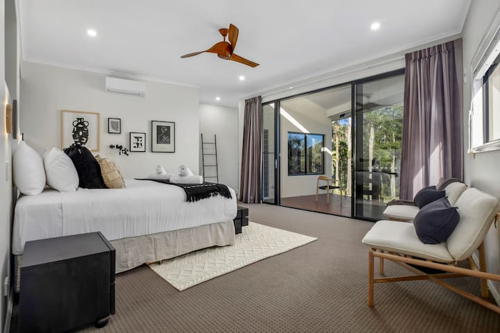 The master suite occupies the entire second level creating the ultimate opulence. It has a private balcony, walk-in robe and sumptuous king-sized bed.