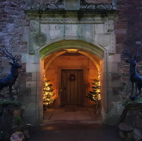 Our formal outdoor entrance at Christmas time