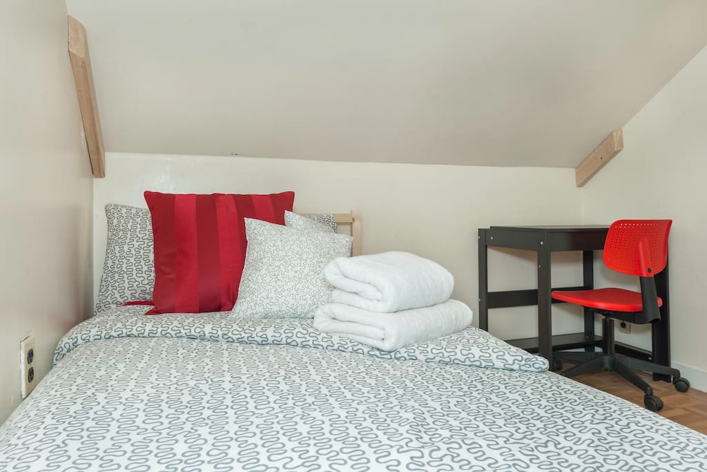 This twin bed was replaced by a full bed that is now in the room