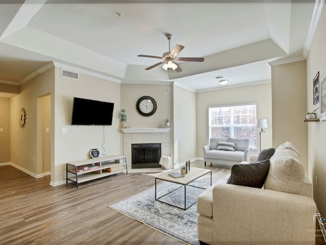 Large living area with SMART TV. Queen size sleeper sofa. YouTube TV provided. Games!