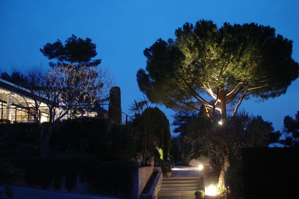 View of the main house from the car park in the evening