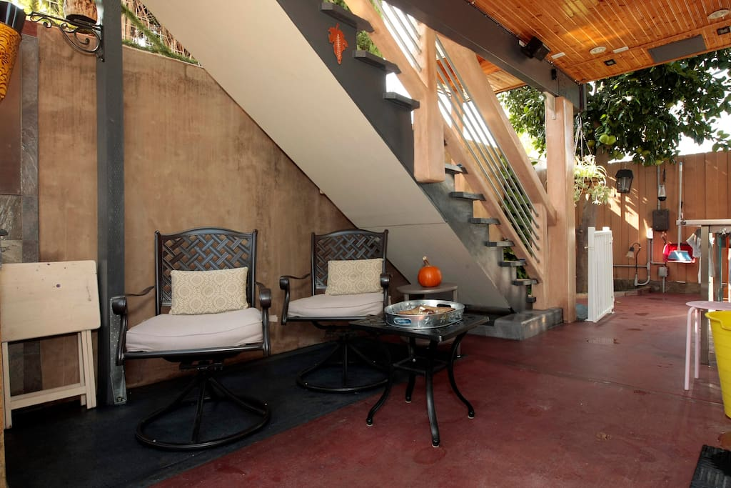 Patio with sitting area in the back yard