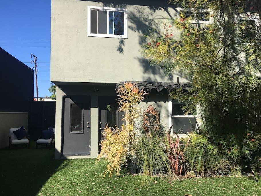 Private access to shared serene sunshine-y backyard thru garage or walk gate