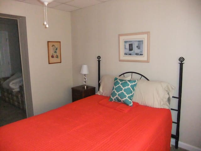 Bedroom #4 with Full temperdic mattress and remote with ceiling fan