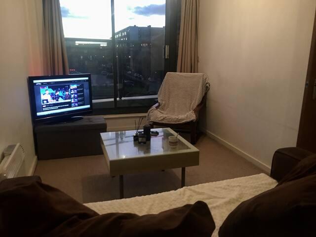 Salons cosy, plaids, télévision, câble hdmi