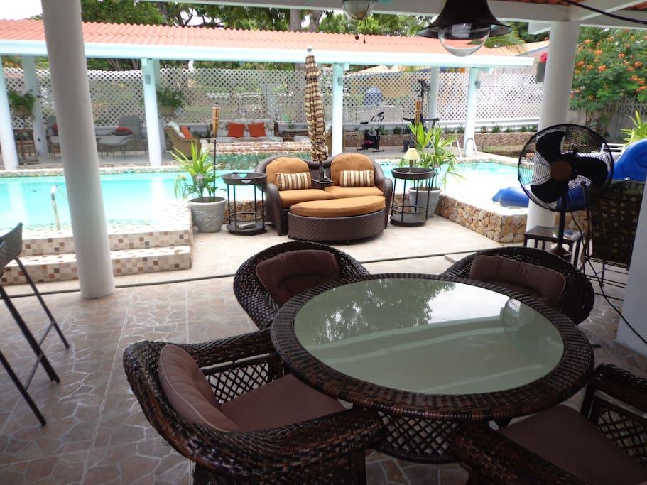 Outdoor 40' lap pool & Bohio enjoy.