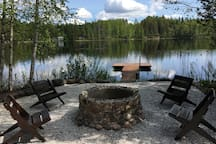 The Campfire area and the lake
