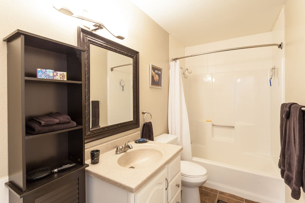 Bathroom is next to bedroom and is only used by guests.