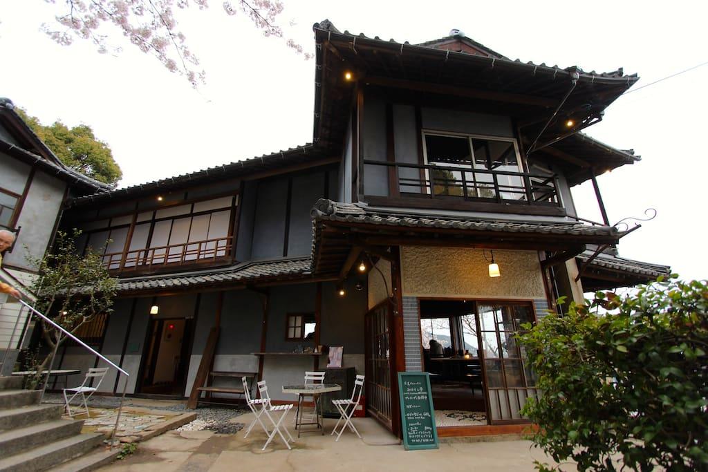 Guesthouse and café entrance