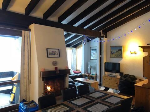 Swiss chalet style apartment sleeps 6, near Gryon