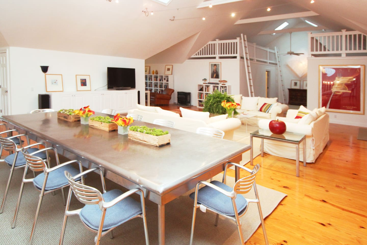 Stunning kitchen and living room is perfect for gatherings that keep everyone part of the fun.