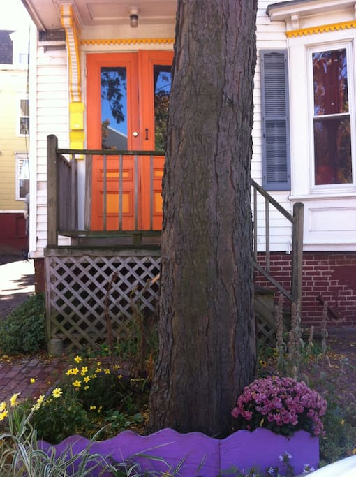 Look for the orange door!