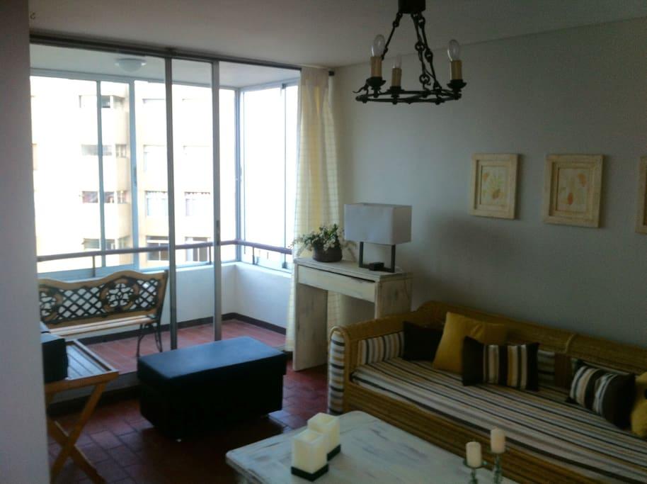 Vista living y terraza