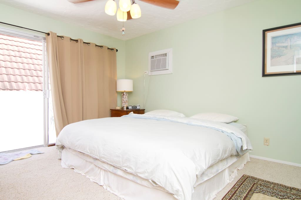 Guests have commented on how well they sleep on this bed.  Pillow top king size bed, with down comforter.