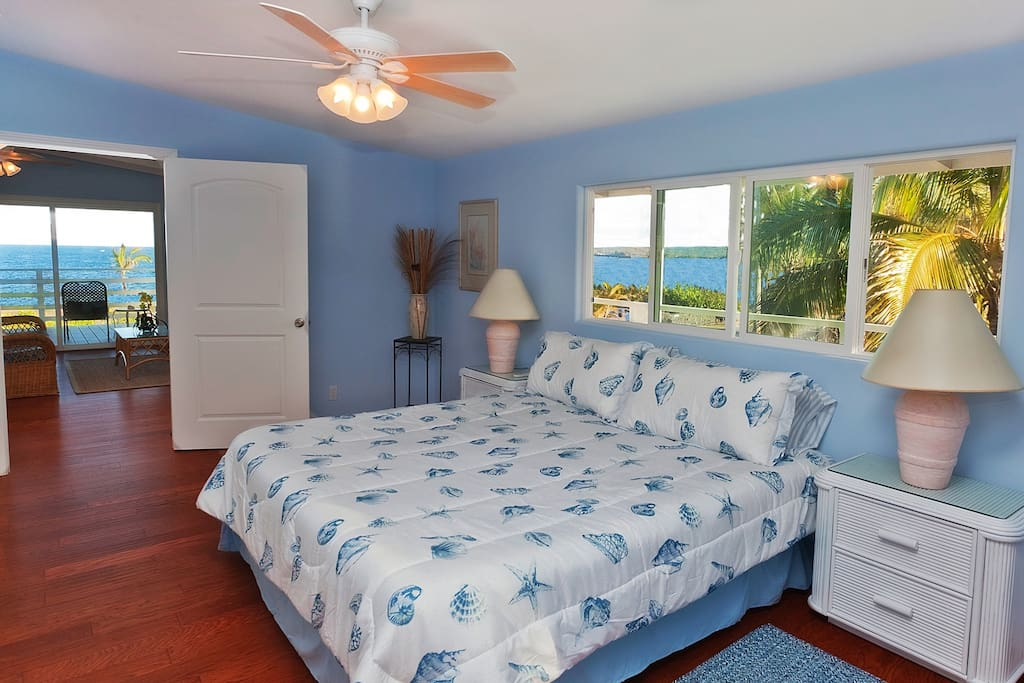 Master suite has king bed, HDTV jungle & ocean views from every window.
