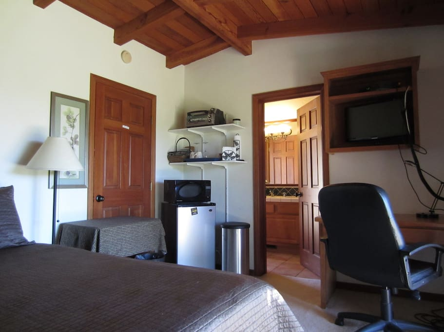 Unit is equipped with mini frig, microwave, toaster oven and coffee maker