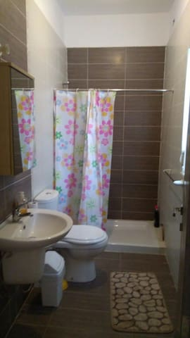 The ensuite private bathroom with shower.