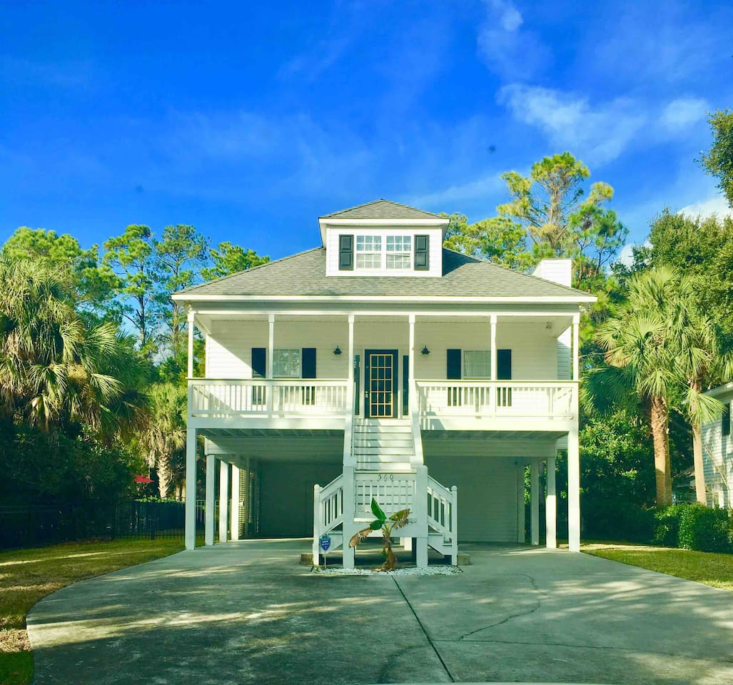 The studio apartment is located on the ground floor of this raised beach house. With separate entrances.  Parking available.