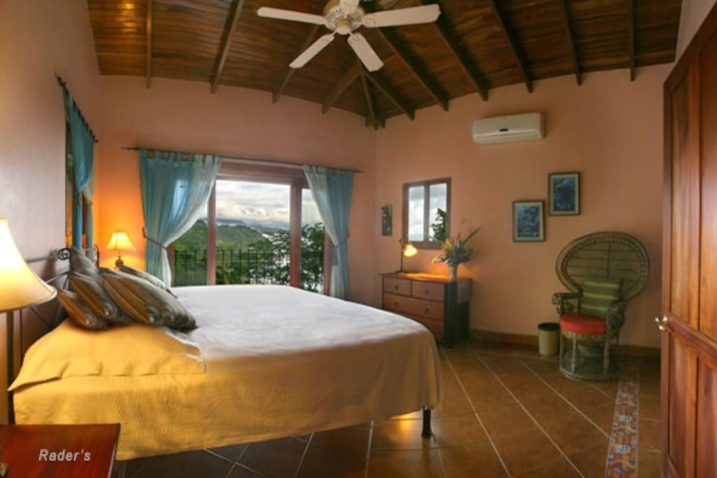 The master suite in Las Rocas Arriba is a wonderful place to wake with an unforgettable mountain/ocean view from your bed.