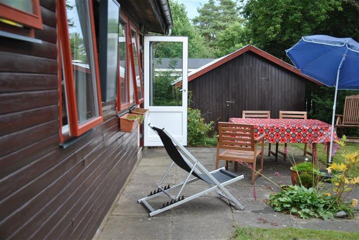 Huset Åblink er et enkelt og dejligt sted. Billedet her er fra området udenfor, hvor der er sol fra tidlig morgen til ud på eftermiddagen. Fiskekort  skal udstedes af myndighederne, henvendelse ved den nærliggende kro, Svostrup Kro. Der er også PUT and TAKE i området.
