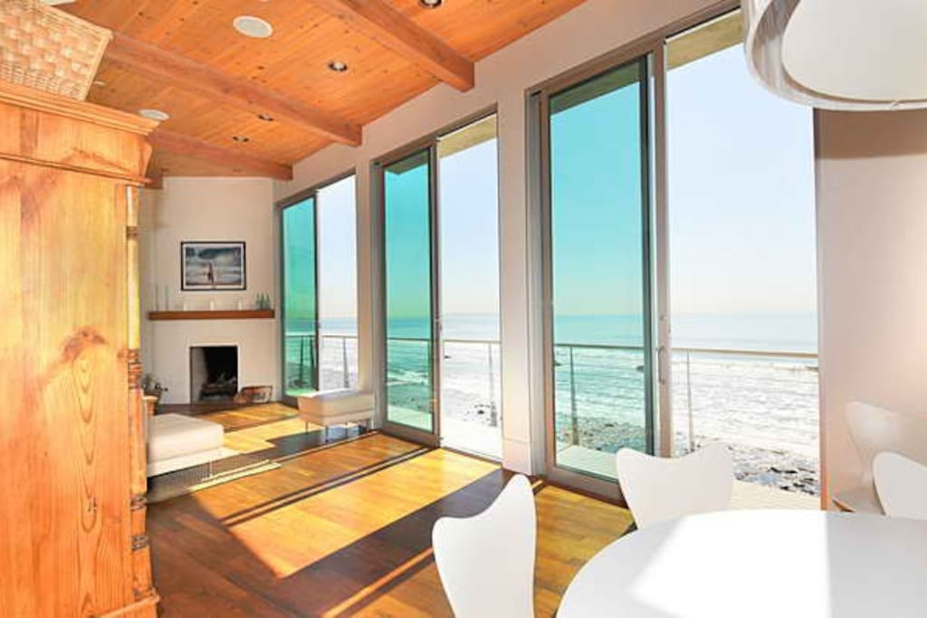 The main floor allows for perfect views of the ocean through several tall sliding glass doors.