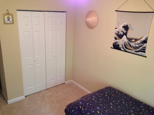 Newly carpeted room with closet space