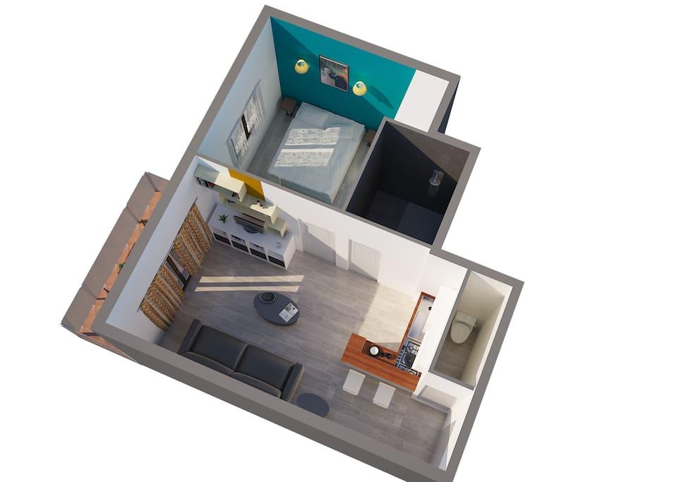 Vue 3d appartement général