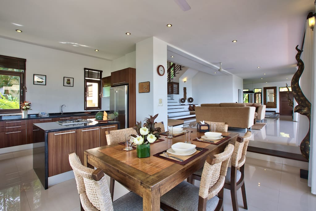 Kitchen, Dining and Lounging rooms.