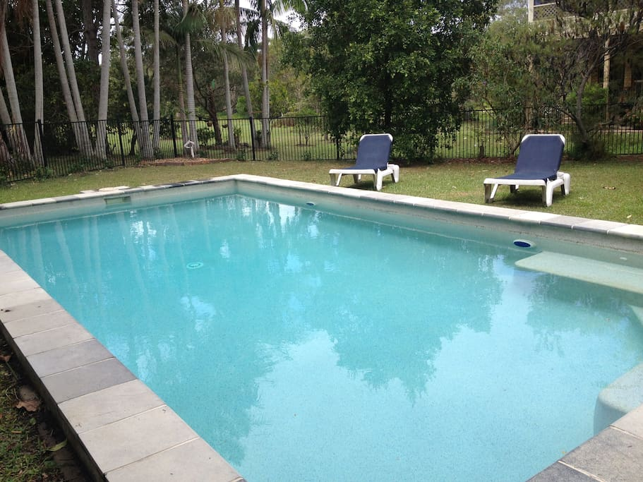 saltwater pool with lounges