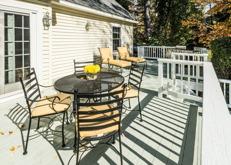 Deck is perfect for barbequing with friends.  Large gas grill with separate burner is available year-round.
