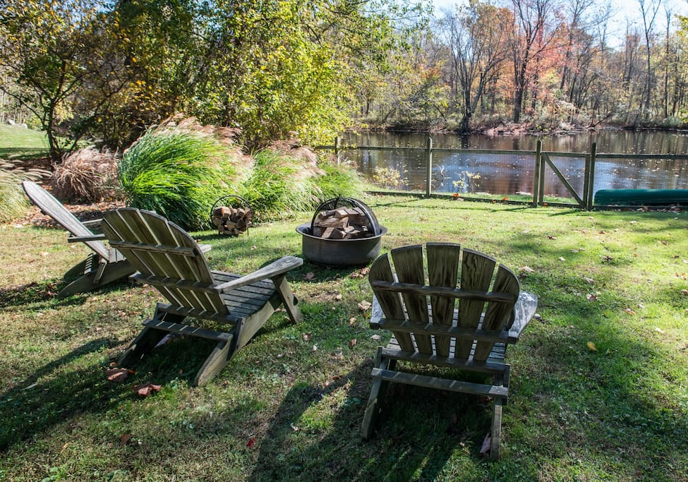 Enjoy the serenity of the backyard  overlooking the pond.