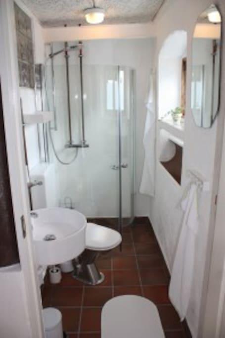 Dejligt bad og toilet
