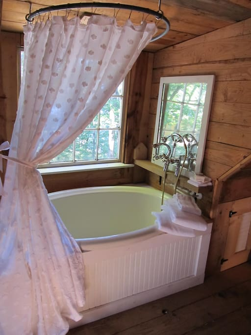 European style soaking tub with view of lake.